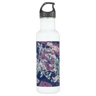 Mystical Blue Purple floral sketch artsy pattern 710 Ml Water Bottle