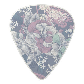 Mystical Blue Purple floral sketch artsy pattern Acetal Guitar Pick