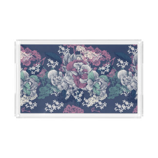 Mystical Blue Purple floral sketch artsy pattern Acrylic Tray