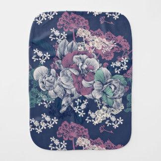 Mystical Blue Purple floral sketch artsy pattern Burp Cloth