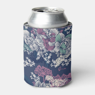 Mystical Blue Purple floral sketch artsy pattern Can Cooler