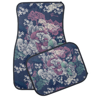 Mystical Blue Purple floral sketch artsy pattern Car Mat
