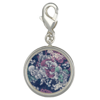 Mystical Blue Purple floral sketch artsy pattern Charms