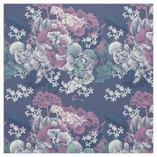 Mystical Blue Purple floral sketch artsy pattern Fabric