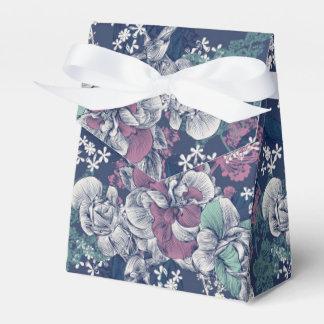 Mystical Blue Purple floral sketch artsy pattern Favor Box
