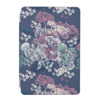 Mystical Blue Purple floral sketch artsy pattern iPad Mini Cover