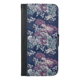 Mystical Blue Purple floral sketch artsy pattern iPhone 6/6s Plus Wallet Case