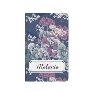 Mystical Blue Purple floral sketch artsy pattern Journal