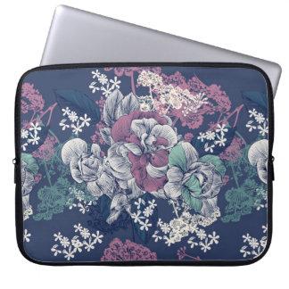 Mystical Blue Purple floral sketch artsy pattern Laptop Sleeve