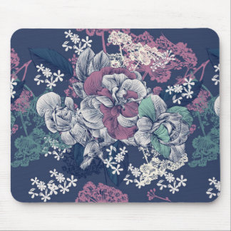 Mystical Blue Purple floral sketch artsy pattern Mouse Pad