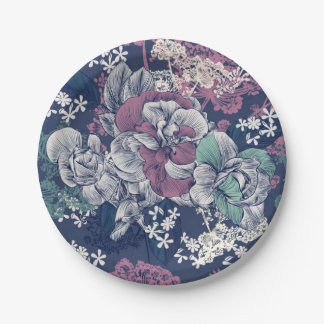 Mystical Blue Purple floral sketch artsy pattern Paper Plate