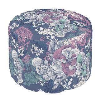 Mystical Blue Purple floral sketch artsy pattern Pouf