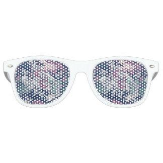 Mystical Blue Purple floral sketch artsy pattern Retro Sunglasses