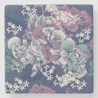 Mystical Blue Purple floral sketch artsy pattern Stone Coaster