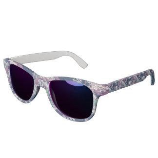 Mystical Blue Purple floral sketch artsy pattern Sunglasses