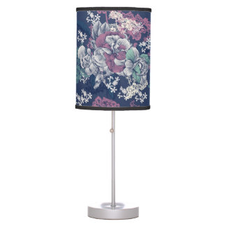 Mystical Blue Purple floral sketch artsy pattern Table Lamp