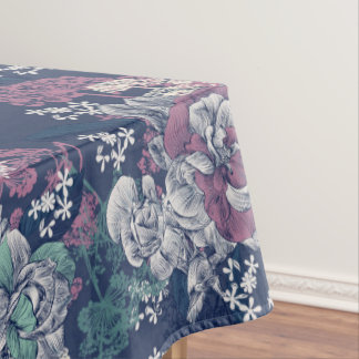 Mystical Blue Purple floral sketch artsy pattern Tablecloth