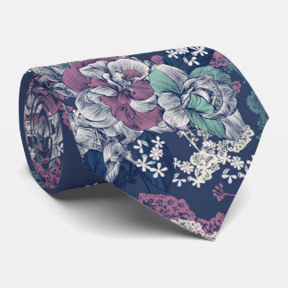 Mystical Blue Purple floral sketch artsy pattern Tie