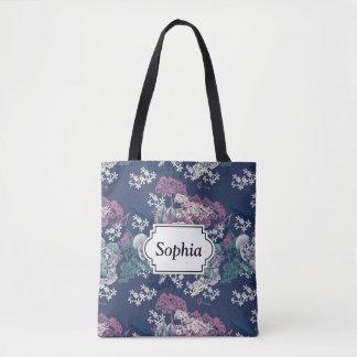 Mystical Blue Purple floral sketch artsy pattern Tote Bag