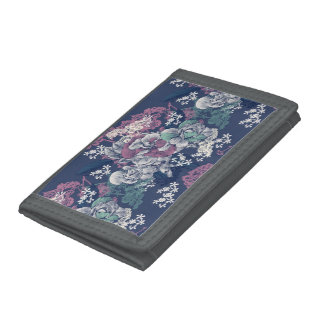 Mystical Blue Purple floral sketch artsy pattern Tri-fold Wallet