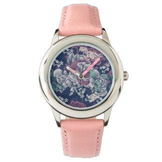 Mystical Blue Purple floral sketch artsy pattern Watch