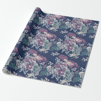 Mystical Blue Purple floral sketch artsy pattern Wrapping Paper