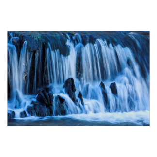 Mystical Blue Waterfall Poster