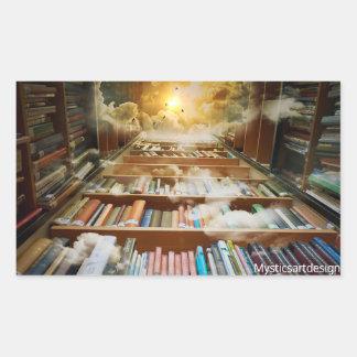 Mystical Bookshelf and Books Climbing to Heavens Sticker