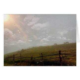 Mystical Evening, Horses Grazing in the Fields Art Card