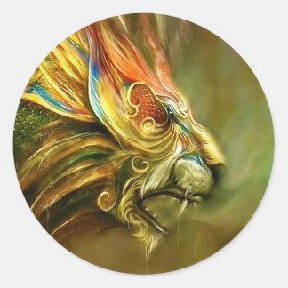 Mystical Fantasy Lion's Head Profile Round Sticker