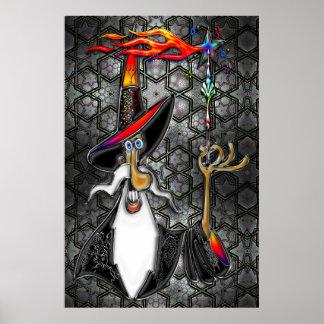 Mystical Fire Wizard Magician Poster