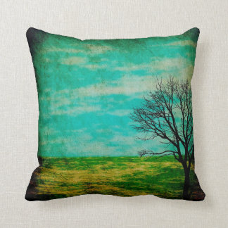 Mystical Folksy Nighttim Sky and Tree Throw Pillow