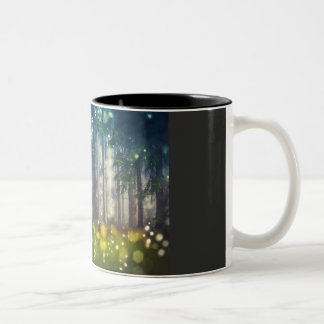Mystical forest, trees on clearing, dawn Two-Tone coffee mug