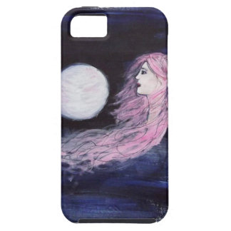 Mystical Girl Pink Hair Moon Blue Case For The iPhone 5