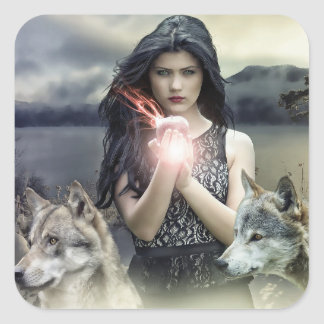 Mystical Girl with Crystal Ball & Wolves Stickers