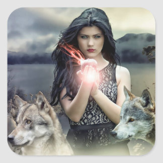Mystical Gothic Girl with Wolves and Magical Light Square Sticker