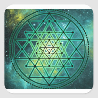 Mystical Green Sri Yantra Square Sticker