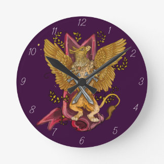 Mystical Gryphon with swords Round Clock