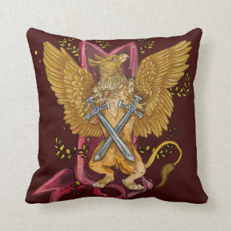 Mystical Gryphon with swords Throw Pillow