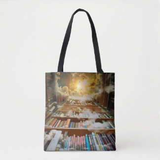 Mystical Infinite Book Shelf Climbing to Heaven Tote Bag