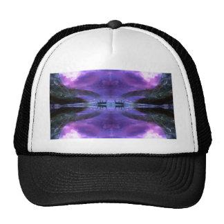 mystical lake sunrise scene mesh hats