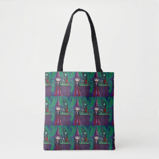 Mystical Magical Big Eye Witch Girl Falcon Dragon Tote Bag