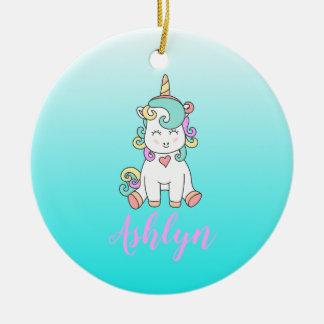 Mystical Magical Happy Unicorn on a Cloud Name Ceramic Ornament