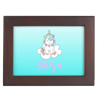 Mystical Magical Happy Unicorn on a Cloud Name Keepsake Box