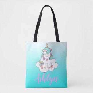 Mystical Magical Unicorn on a Cloud Name Blue Tote Bag