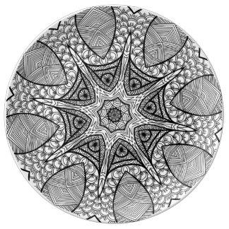 Mystical Mandala Black and White Decorative Plate Porcelain Plates