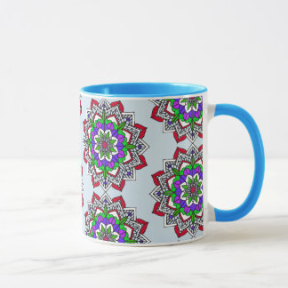 Mystical Mandala Red Purple Pale Blue Coffee Cup
