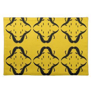 Mystical mandalas black on gold placemat