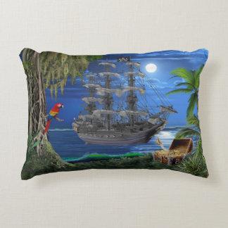 Mystical Moonlit Pirate Ship Decorative Pillow