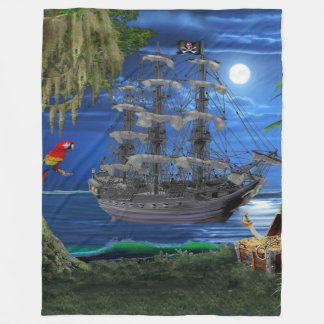 Mystical Moonlit Pirate Ship Fleece Blanket